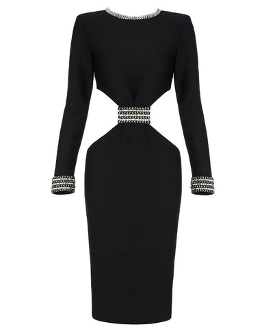 Aubrey Black Long Sleeve Midi Dress