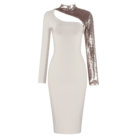 Alessa Sequins Long Sleeve Bandage Dress- Cream
