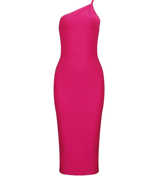 Alicja Pink One Strap Midi Bandage Dress