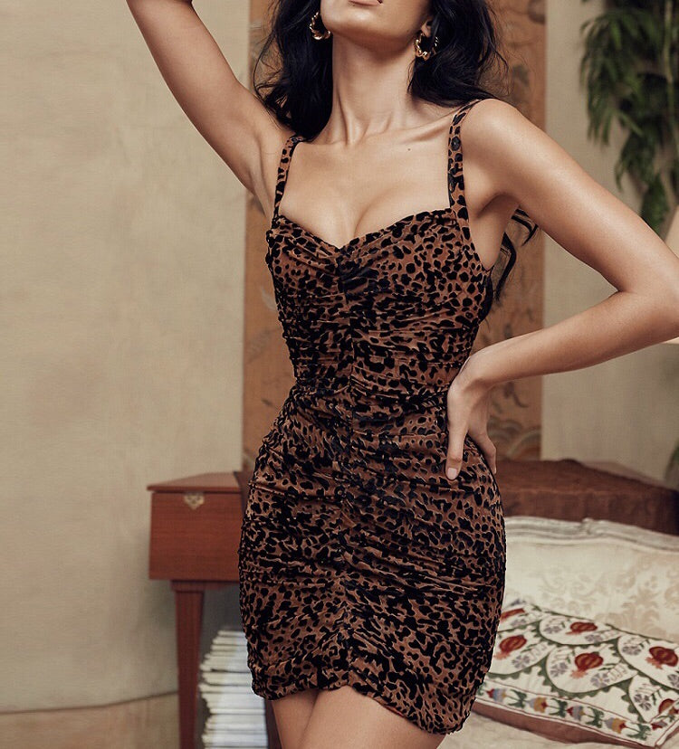 Delma Sexy Loose Leopard Print Short Dress