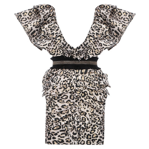 Jocelyn Sleeveless Mini Leopard V Neck Dress