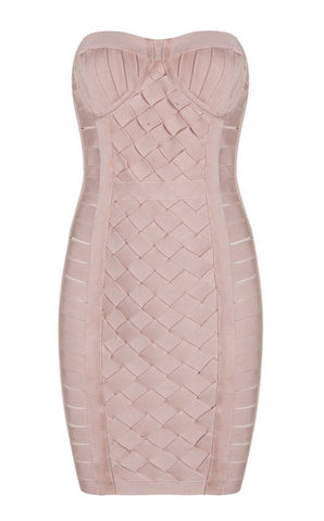 Nancie Nude Weave Mini Bandage Dress