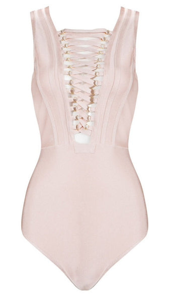 Denice Lace Up Bandage Bodysuit