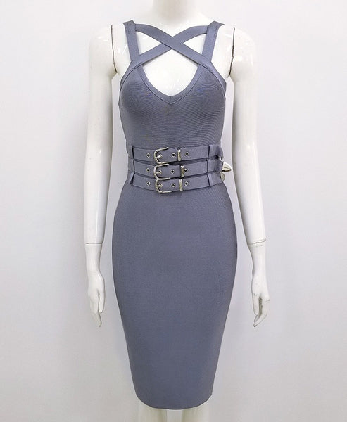 Zabel Gray Strappy Bandage Dress