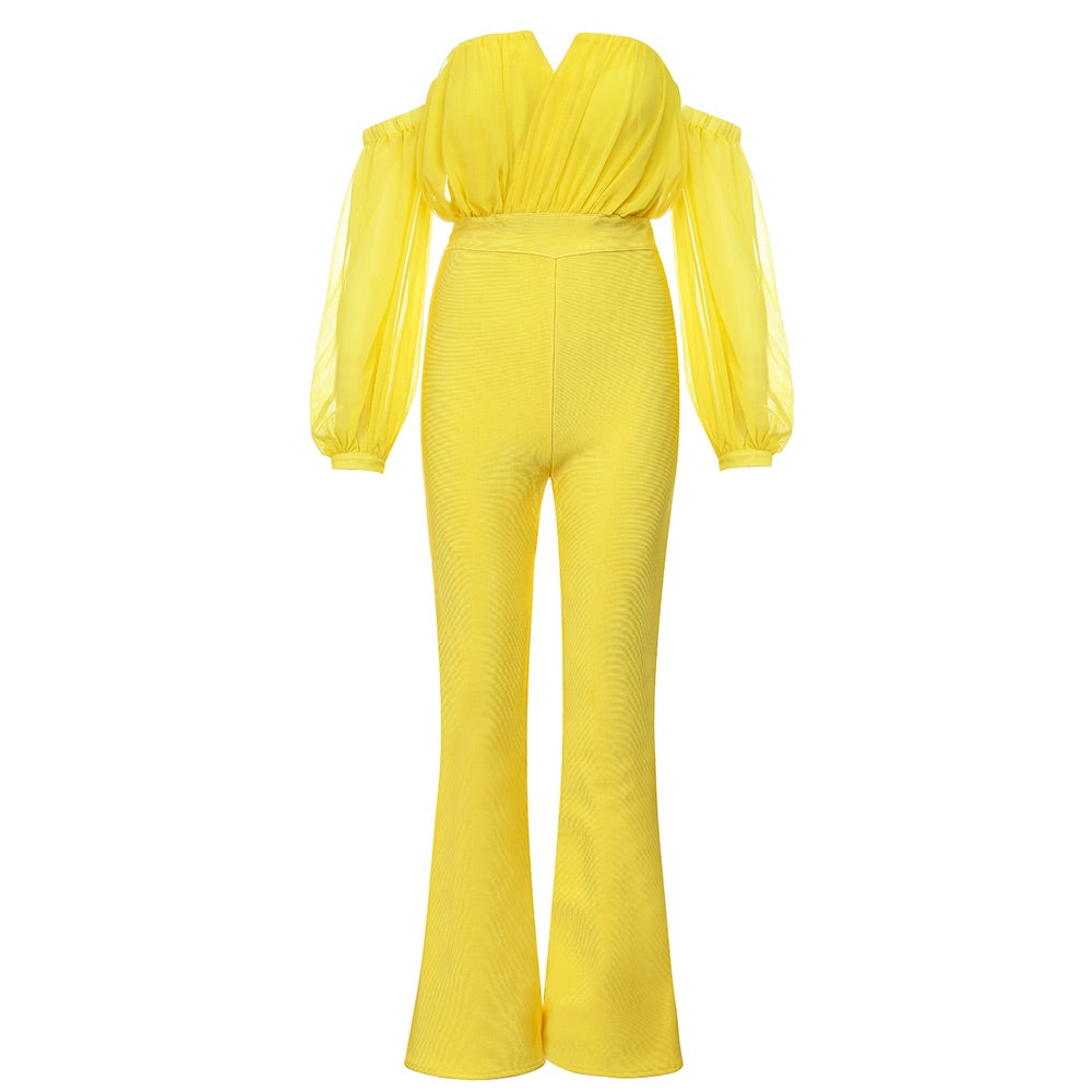 Kimberly Yellow Off Shoulder Long Sleeve Jumpsuit