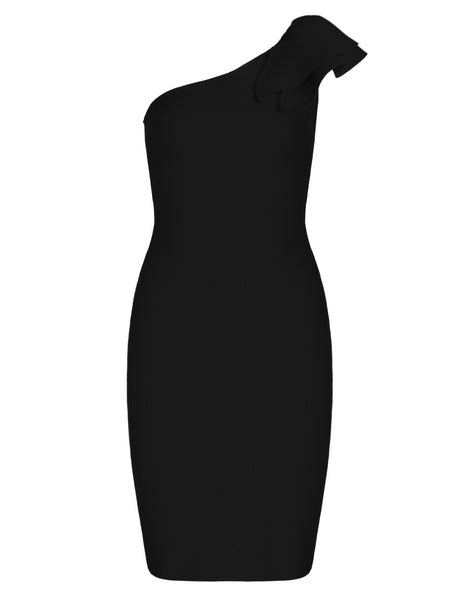 Claude One Shoulder Black Bandage Dress