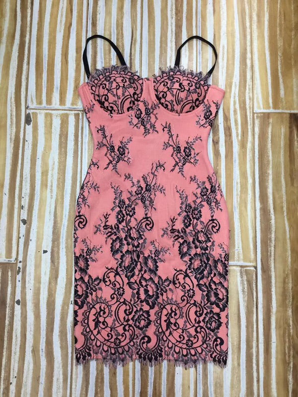 Gracelyn Black Pink Lace Bandage Mini Dress