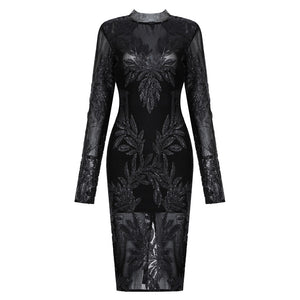 Alina Midi Black Mesh Sequins Long Sleeve Dress