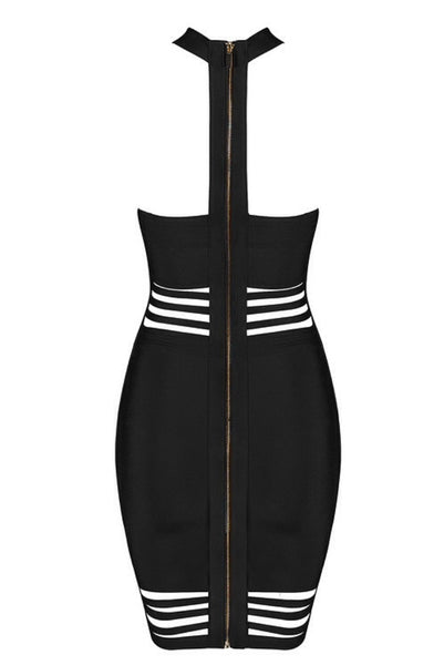 Lacey Sexy Black Halter Bandage Dress