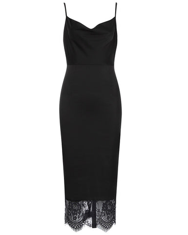 Laney Black Spaghetti Strap Midi Dress with Lace Hem
