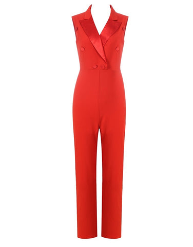 Paisley Sleeveless Red Jumpsuit