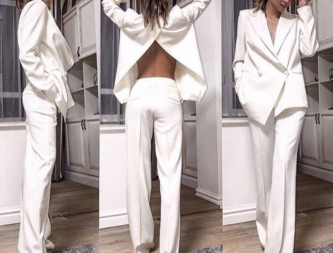 Helia White Long Sleeve Two Piece Set