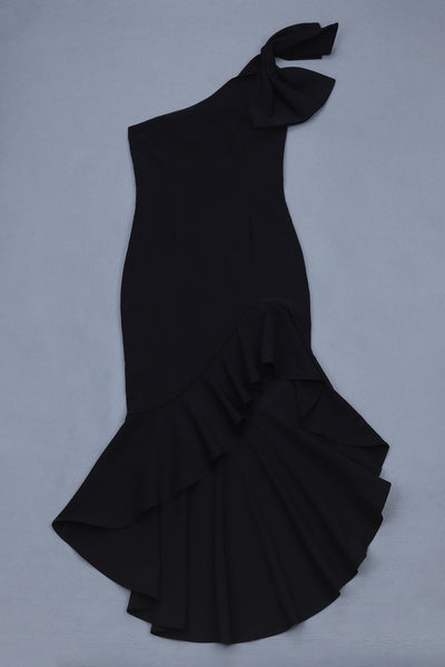 Zooey Black One Shoulder Midi Dress