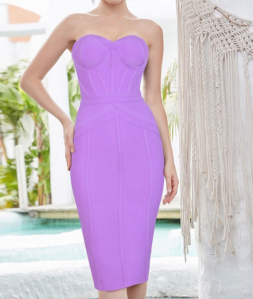 Ellianna Strapless Structured Midi Bandage Dress