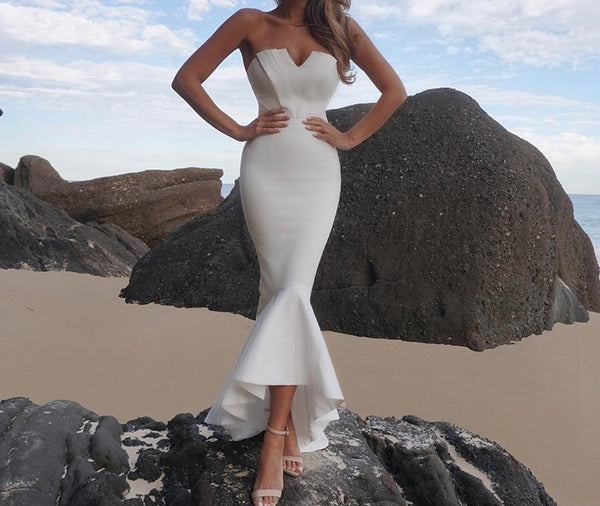 Lizeth White Bandeau Mermaid Maxi Dress