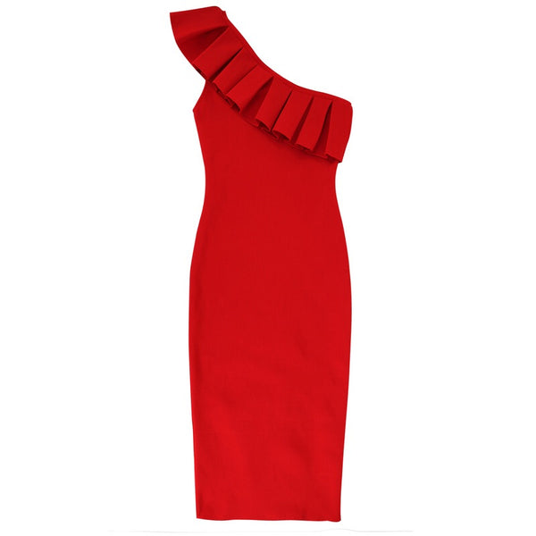 Jemma Red One Shoulder Strap Bandage Dress