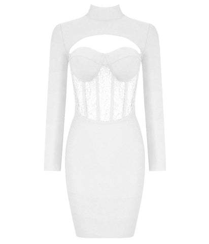 Charlie White Long Sleeve Mini Bandage Dress with Lace Details