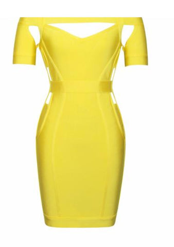 Serenity Yellow Off Shoulder Neckline Dress