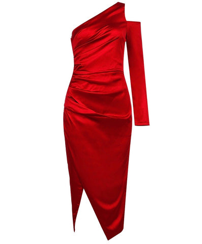 Catherine Red One Sleeve Midi Satin Dress with Front Open