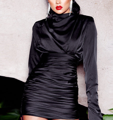 Gamila Black Long Sleeve Satin Mini Dress
