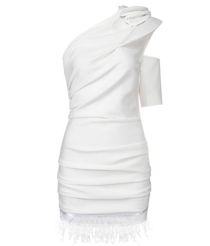 Luciana White Mini One Shoulder Party Dress