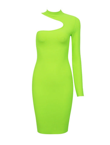 Paulie Neon Green Asymmetrical Mini One Sleeve Bandage Dress