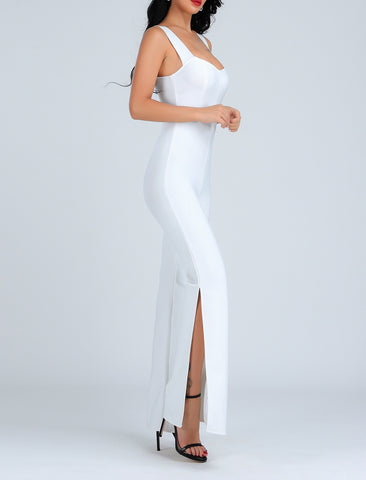 Rebekah Sexy Side Slit Bandage Jumpsuit- White