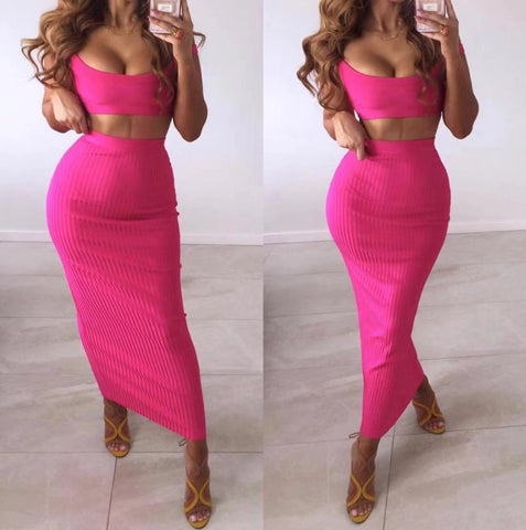 Sierra Two Piece Long Skirt Bandage Dress- Pink
