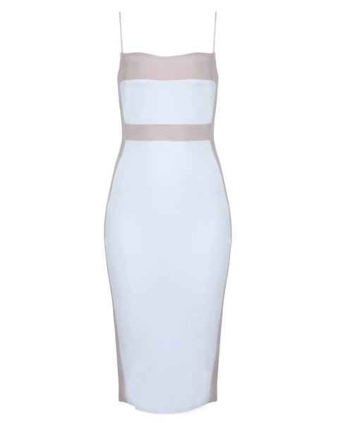 Ailise Beige White Spaghetti Strap Bandage Dress