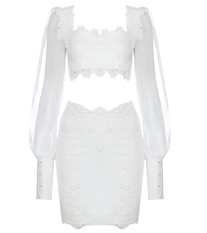 Alma White Two Piece Crochet Mini Dress