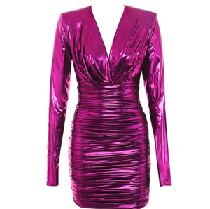 Jacynta Pink Glowing Metallic Long Sleeve V-Neck Mini Dress