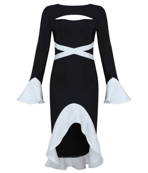 Neveah Black White Bandage Dress
