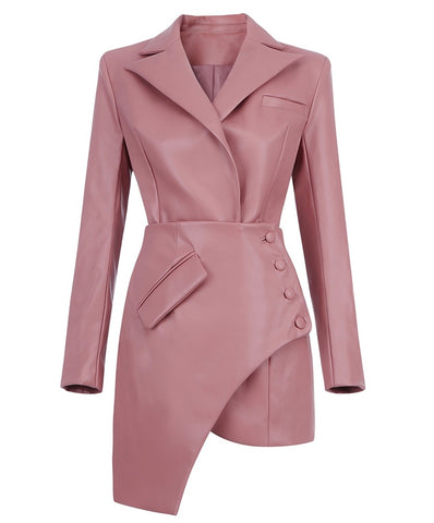 Camila Asymmetric Pink Faux Leather Mini Dress