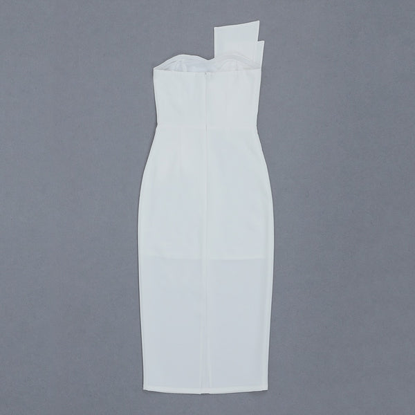 Alani White Structured Strapless Midi Dress