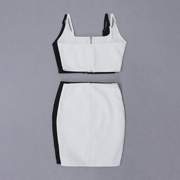 Babette White Crop Top with Mini Skirt Set