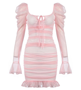 Sadie Light Pink Sheer Mini Dress