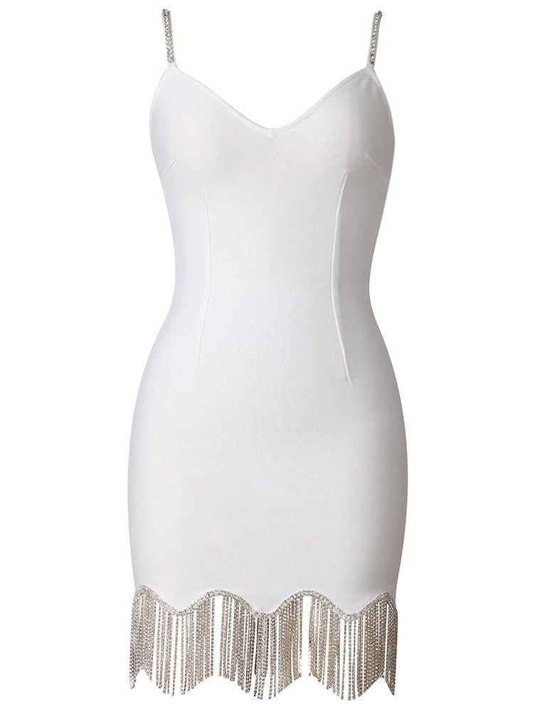 Norah White Spaghetti Strap Mini Dress with Diamond Hem Detail