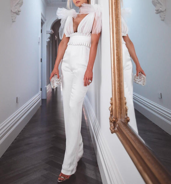 Ainsley White Lace V Neck Sleeveless Jumpsuit