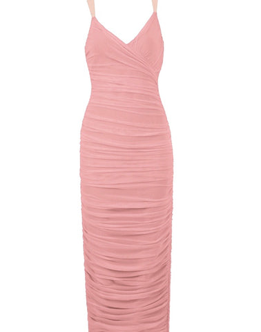 Lydia Cross Over Front Detail Midi Spaghetti Strap Dress - Pink