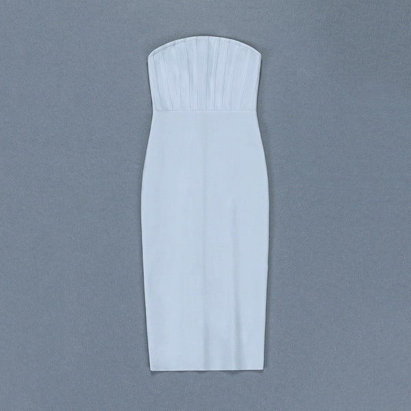 Alivia White Strapless Midi Bandage Dress