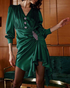 Elinor Green V Neck Long Sleeve Dress