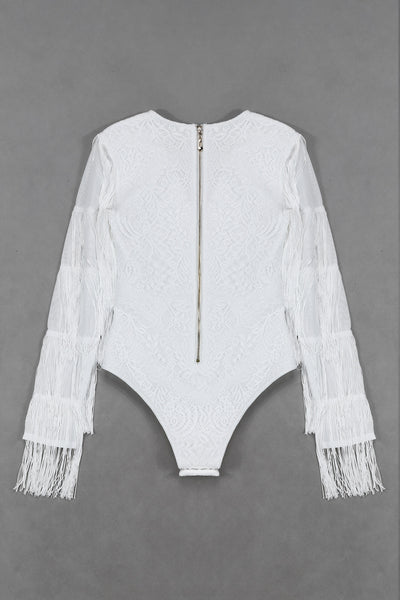 Imogen White Long Sleeve Tassel Bodysuit
