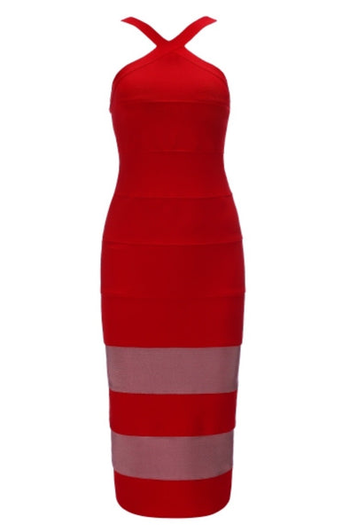 Gweneth Red Halter Bandage Dress