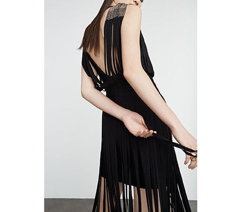 Bo Black Tassel Bandage Dress