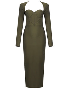 Braelyn Green Long Sleeve Bustier Midi Dress