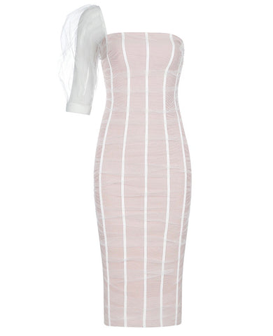 Brinley Mesh White One Sleeve Midi Dress