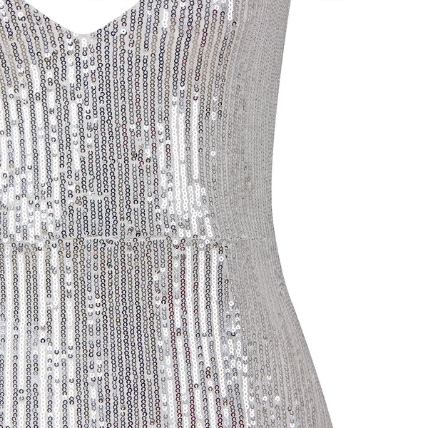 Victoria Silver Strap V Neck Midi Sequin Dress