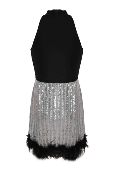 Cherie Black Halter Mini Sequin Dress