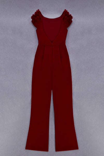 Janka Red Open Back Jumpsuit