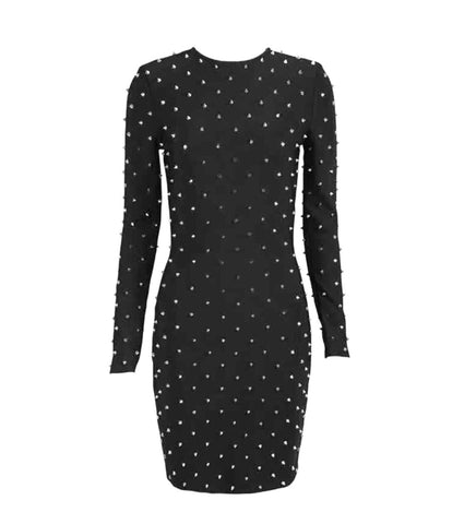 Ailani Pearl Detail Long Sleeve Bandage Dress - Black